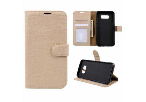 Samsung Galaxy S8 Plus - Lychee Textuur Lederen Portemonnee Hoesje met Kaarthouder - Goud
