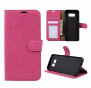 GSMWise Samsung Galaxy S8 Plus - Lychee Textuur Lederen Portemonnee Hoesje met Kaarthouder - Magenta Hot Pink