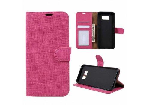 Samsung Galaxy S8 Plus - Lychee Textuur Lederen Portemonnee Hoesje met Kaarthouder - Magenta Hot Pink
