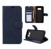 GSMWise Samsung Galaxy S8 Plus - Lychee Textuur Lederen Portemonnee Hoesje met Kaarthouder - Donker Blauw