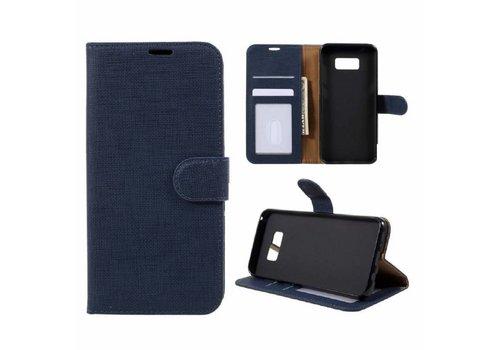 Samsung Galaxy S8 Plus - Lychee Textuur Lederen Portemonnee Hoesje met Kaarthouder - Donker Blauw