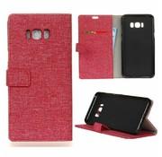 GSMWise Samsung Galaxy S8 Plus - Denim Design Linnen Textuur Lederen Portemonnee Hoesje met Kaarthouder - Rood