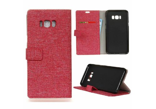 Samsung Galaxy S8 Plus - Denim Design Linnen Textuur Lederen Portemonnee Hoesje met Kaarthouder - Rood