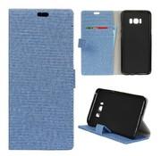 GSMWise Samsung Galaxy S8 Plus - Denim Design Linnen Textuur Lederen Portemonnee Hoesje met Kaarthouder - Blauw