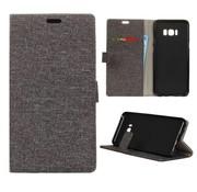 GSMWise Samsung Galaxy S8 Plus - Denim Design Linnen Textuur Lederen Portemonnee Hoesje met Kaarthouder - Grijs