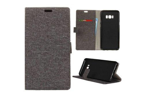 Samsung Galaxy S8 Plus - Denim Design Linnen Textuur Lederen Portemonnee Hoesje met Kaarthouder - Grijs