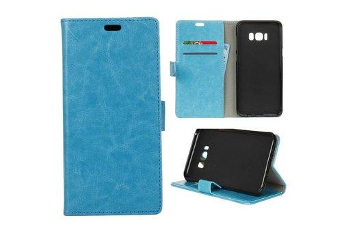 Samsung Galaxy S8 PU lederen TPU Portemonnee hoesje met Kaarthouder - Blauw