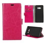 GSMWise Samsung Galaxy S8 PU lederen TPU Portemonnee hoesje met Kaarthouder - Magenta Hot Pink