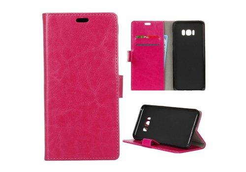 Samsung Galaxy S8 PU lederen TPU Portemonnee hoesje met Kaarthouder - Magenta Hot Pink
