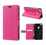 GSMWise Huawei P8 Lite (2017) / Honor 8 Lite - PU lederen TPU Portemonnee hoesje met Kaarthouder Lychee - Magenta Hot Pink