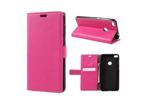 Huawei P8 Lite (2017) / Honor 8 Lite - PU lederen TPU Portemonnee hoesje met Kaarthouder Lychee - Magenta Hot Pink