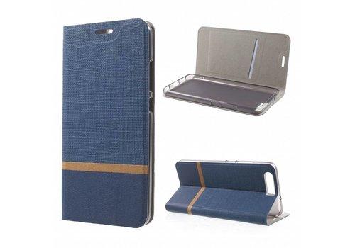 Huawei P10 - Wallet Case Hoesje - Book Case Denim en Leer - Blauw