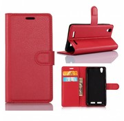 GSMWise Huawei P10 - PU lederen TPU Portemonnee hoesje met Kaarthouder Lychee - Rood
