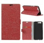 GSMWise Huawei P10 - Denim Design Linnen Textuur Lederen Portemonnee Hoesje met Kaarthouder - Rood