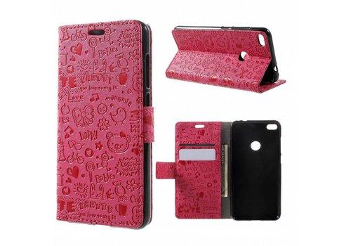 Huawei P8 Lite (2017) / Honor 8 Lite - PU lederen TPU Portemonnee hoesje met Kaarthouder Cartoon Design - Magenta Hot Pink