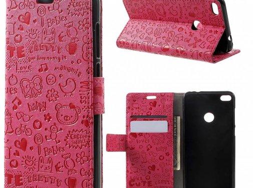 GSMWise Huawei P8 Lite (2017) / Honor 8 Lite - PU lederen TPU Portemonnee hoesje met Kaarthouder Cartoon Design - Magenta Hot Pink