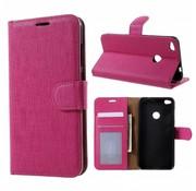 GSMWise Huawei P8 Lite (2017) / Honor 8 Lite - Lychee Textuur Lederen Portemonnee Hoesje met Kaarthouder - Magenta Hot Pink