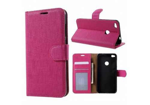 Huawei P8 Lite (2017) / Honor 8 Lite - Lychee Textuur Lederen Portemonnee Hoesje met Kaarthouder - Magenta Hot Pink