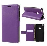 GSMWise Huawei P8 Lite (2017) / Honor 8 Lite - PU lederen TPU Portemonnee hoesje met Kaarthouder Lychee - Paars