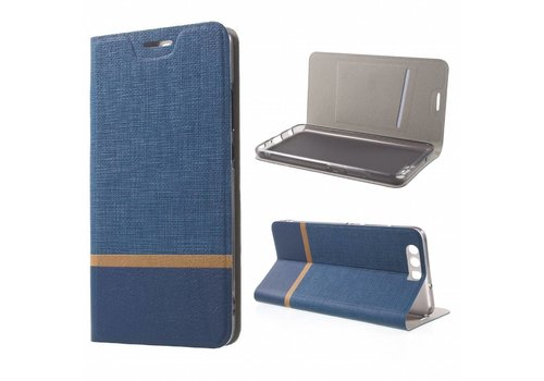 Huawei P10 Plus - Wallet Case Hoesje - Book Case Denim en Leer - Blauw