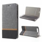 GSMWise Huawei P10 Plus - Wallet Case Hoesje - Book Case Denim en Leer - Grijs