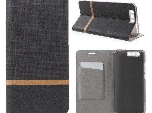 GSMWise Huawei P10 Plus - Wallet Case Hoesje - Book Case Denim en Leer - Zwart