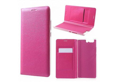 Huawei P10 Plus - Portemonnee Hoesje Wallet Case Met Pashouder - Magenta Hot Pink