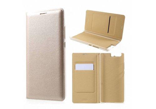 Huawei P10 Plus - Portemonnee Hoesje Wallet Case Met Pashouder - Goud