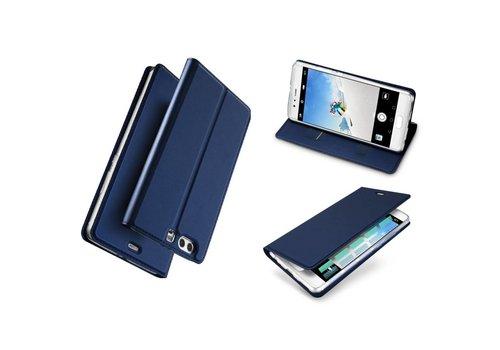 Huawei P10 Plus - PU lederen Bookcase Hoesje met Kaarthouder - Donker Blauw