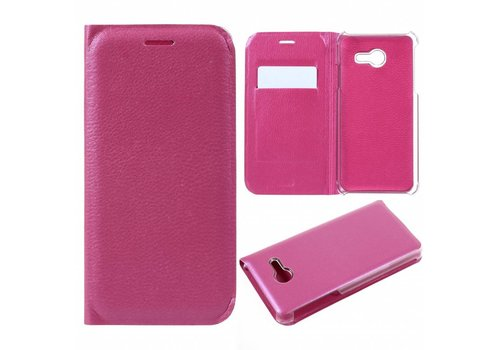 Samsung Galaxy J5 (2017) Luxe Lyche Flipcover Hoesje - Book Case Cover - Magenta Hot Pink