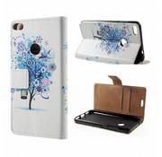 GSMWise Huawei P8 Lite (2017) / Honor 8 Lite - PU lederen Portemonnee Hoesje met Kaarthouder - Blue Tree Design