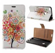 GSMWise Huawei P8 Lite (2017) / Honor 8 Lite - PU lederen Portemonnee Hoesje met Kaarthouder - Flowered Tree Design