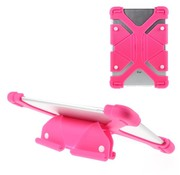 GSMWise Universele Siliconen Tablethoes voor Tablets van 8.9 - 12 inch - Vlinder Design - Magenta Hot Pink