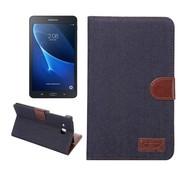 GSMWise Samsung Galaxy Tab A 7.0 Hoesje - Denim Design Tablet Cover met Portemonnee en Kaarthouder - Donker Blauw