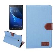 GSMWise Samsung Galaxy Tab A 7.0 Hoesje - Denim Design Tablet Cover met Portemonnee en Kaarthouder - Blauw