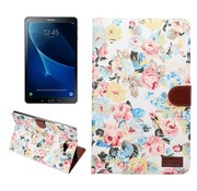 GSMWise Samsung Galaxy Tab A 10.1 (2016) - Bloemen Design Tablet Cover met Portemonnee en Kaarthouder - Wit