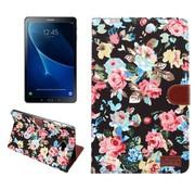 GSMWise Samsung Galaxy Tab A 10.1 (2016) - Bloemen Design Tablet Cover met Portemonnee en Kaarthouder - Zwart