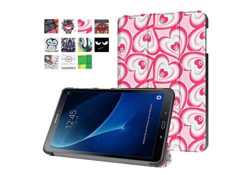 Samsung Galaxy Tab A 10.1 (2016) - Smart Case gemaakt van PU Lederen - Harten Design