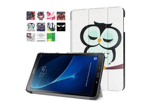 Samsung Galaxy Tab A 10.1 (2016) - Smart Case gemaakt van PU Lederen - Slapende Uil Design