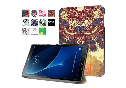 Samsung Galaxy Tab A 10.1 (2016) - Smart Case gemaakt van PU Lederen - Retro Bloemenpatroon Design