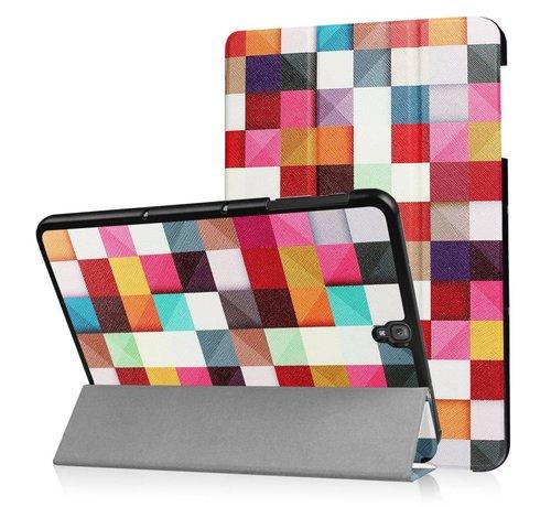 GSMWise Samsung Galaxy Tab S3 9.7 - Smart Case gemaakt van PU Lederen - Kleurrijke Vierkanten - Wit