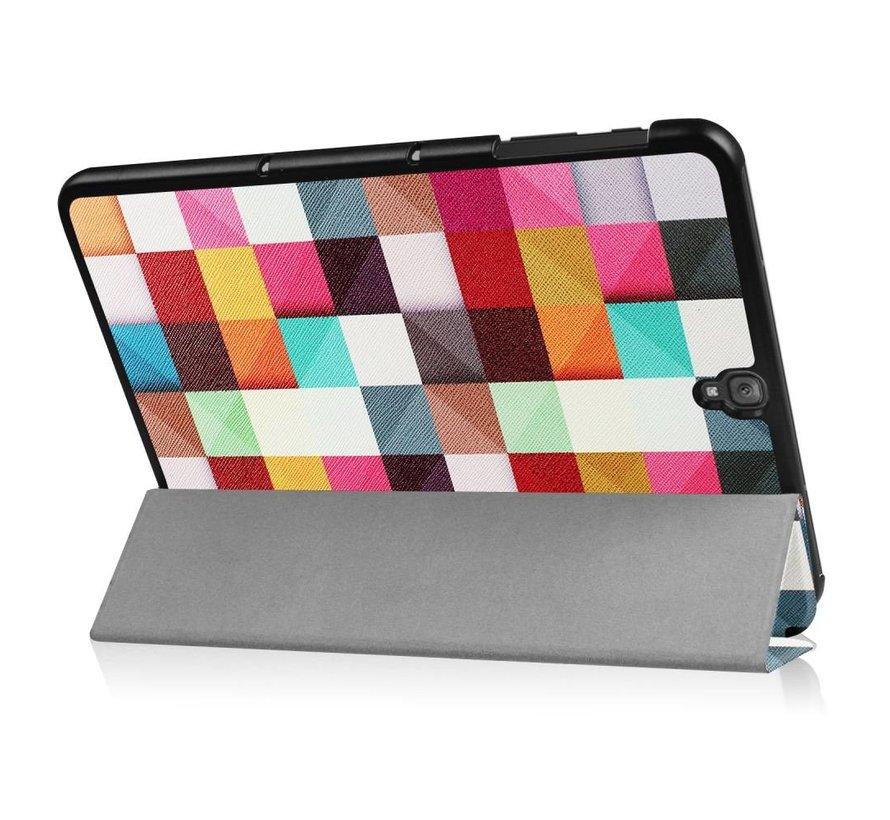 Samsung Galaxy Tab S3 9.7 - Smart Case gemaakt van PU Lederen - Kleurrijke Vierkanten - Wit