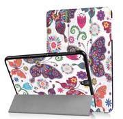 GSMWise Samsung Galaxy Tab S3 9.7 - Smart Case gemaakt van PU Lederen - Kleurrijke Vlinder - Wit