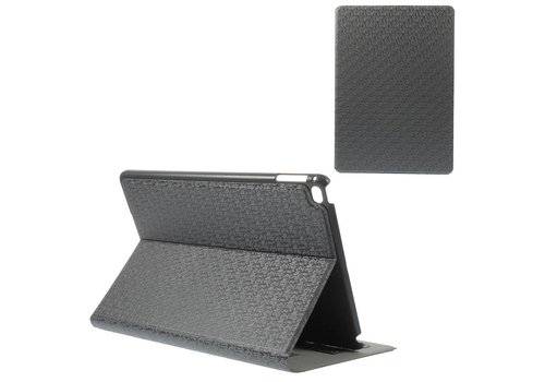 Apple iPad Air 2 - PU Lederen Cover Lychee met Kaarthouder - Grijs