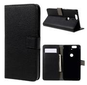 GSMWise Huawei Nexus 6P - PU Lederen Portemonnee Hoesje met Kaarthouder Lychee Design - Zwart