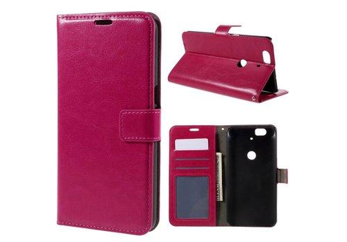 Huawei Nexus 6P - PU Lederen Portemonnee Hoesje met Kaarthouder - Magenta Hot Pink