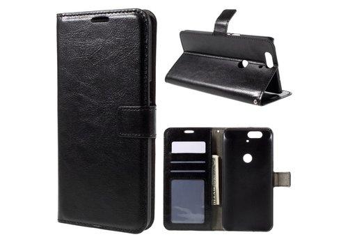 Huawei Nexus 6P - PU Lederen Portemonnee Hoesje met Kaarthouder - Zwart
