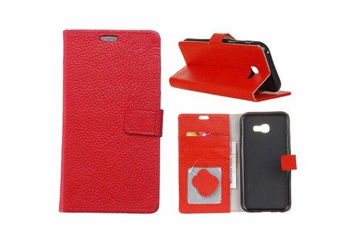 Samsung Galaxy Xcover 4 - PU lederen TPU Portemonnee hoesje met Kaarthouder Lychee - Rood