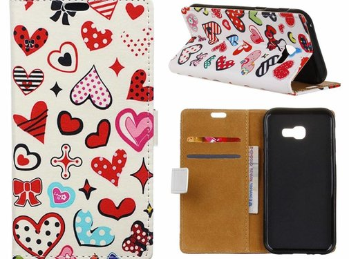 GSMWise Samsung Galaxy Xcover 4 - Portemonnee Hoesje met Kaarthouder - Hearts and Polka Dots Design