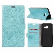 GSMWise Samsung Galaxy Xcover 4 - Portemonnee Hoesje met Kaarthouder Krokodil Leer Design - Cyaan Turquoise